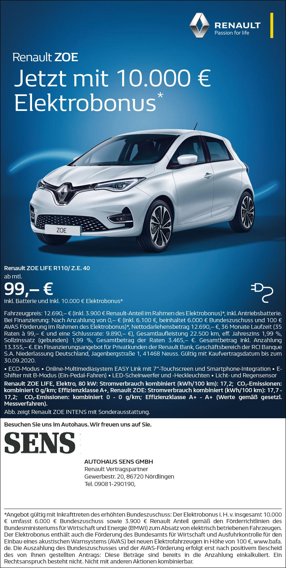 Renault ZOE – Jetzt mit 10.000 € Elektrobonus