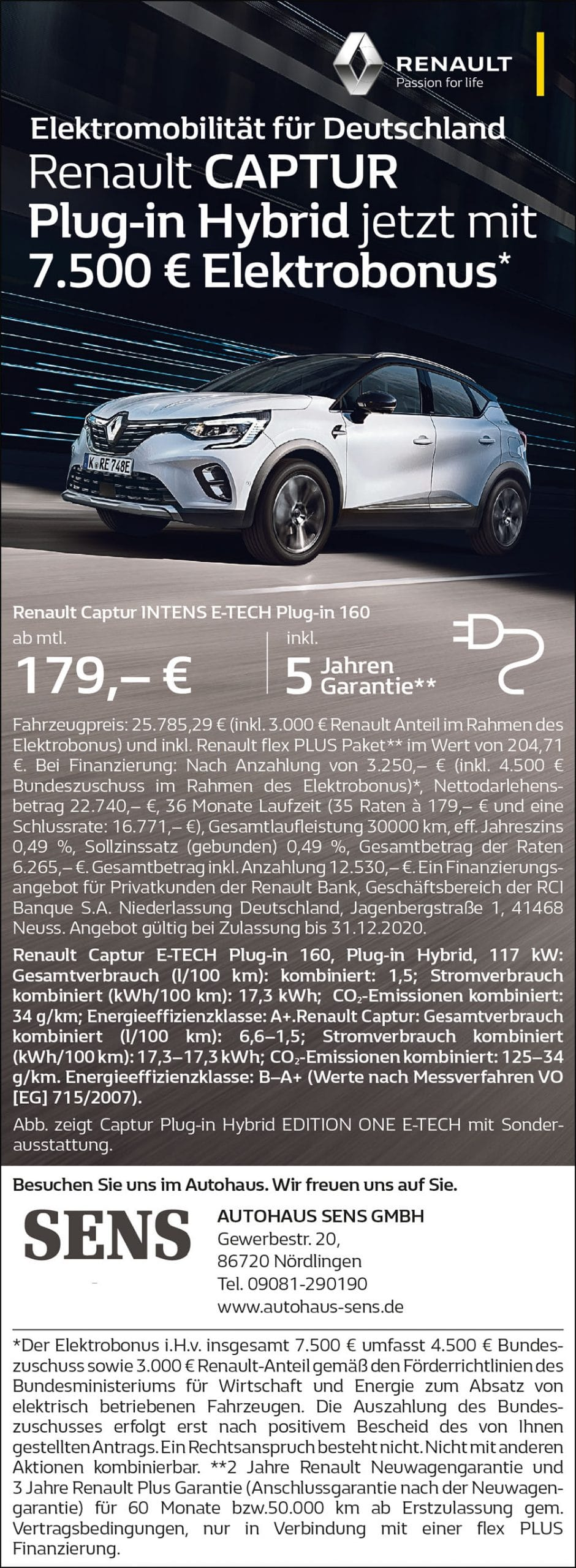 Renault CAPTUR Plug-in Hybrid jetzt mit 7.500€ Elektrobonus